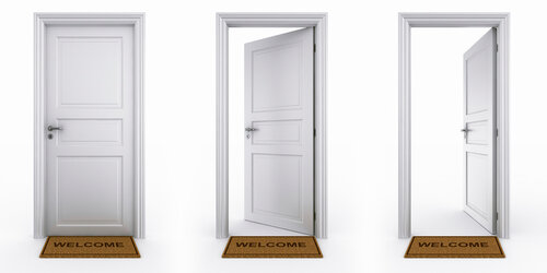 3d rendering of a dor in three stages with welcome mat