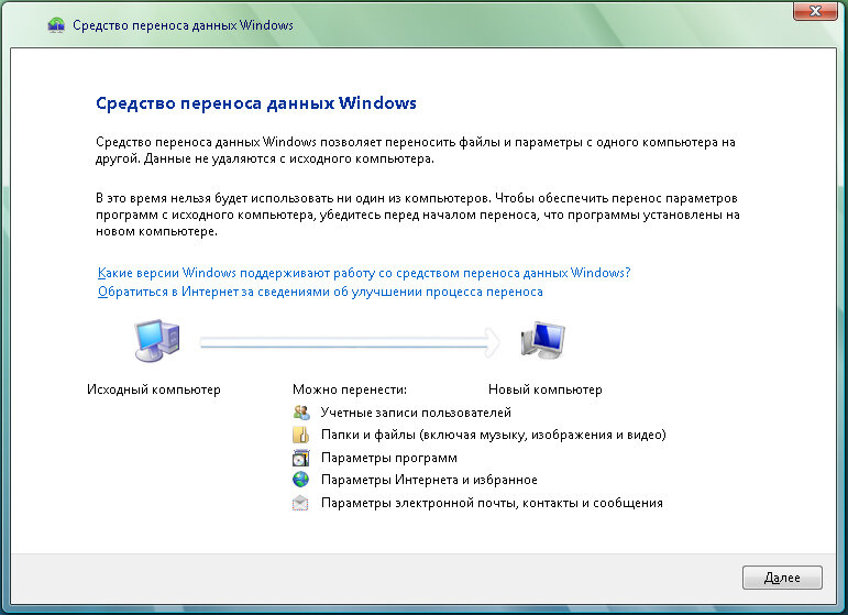 Рис. 1.1. Диалоговое окно мастера переноса данных операционной системы Windows Vista