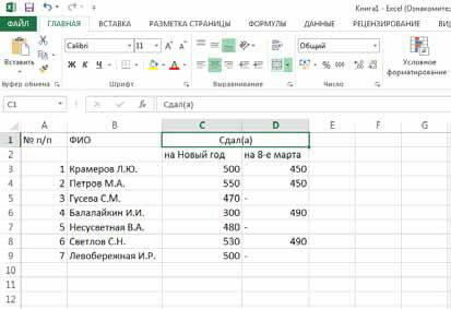 Как в Excel 2013 выполнить слияние или объединение ячеек