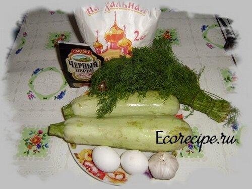Ингредиенты для приготовления кабачковый оладий