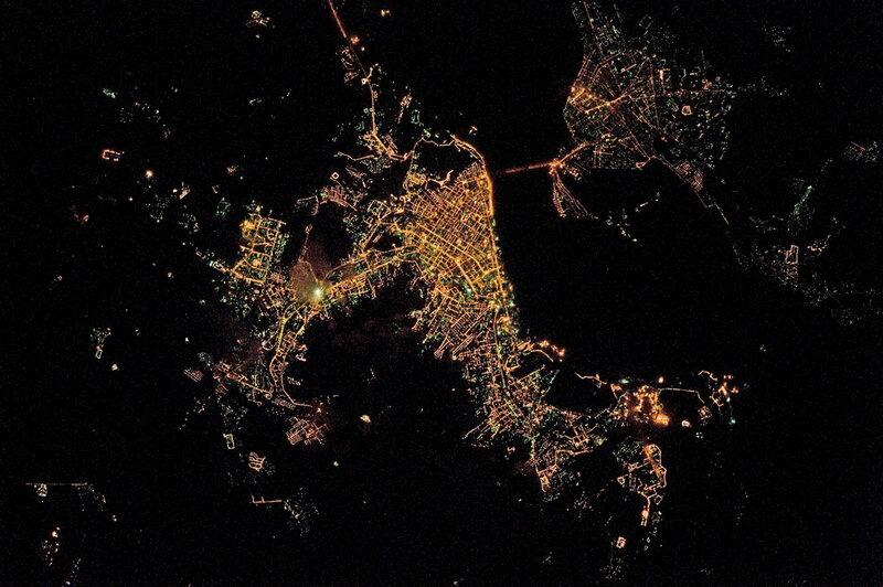 Саратов ночью из космоса
