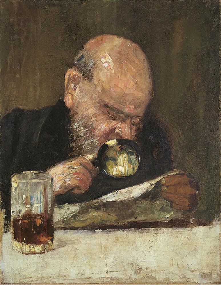 Читатель с лупой. ок. 1895. Лессер Ури (1861-1931)