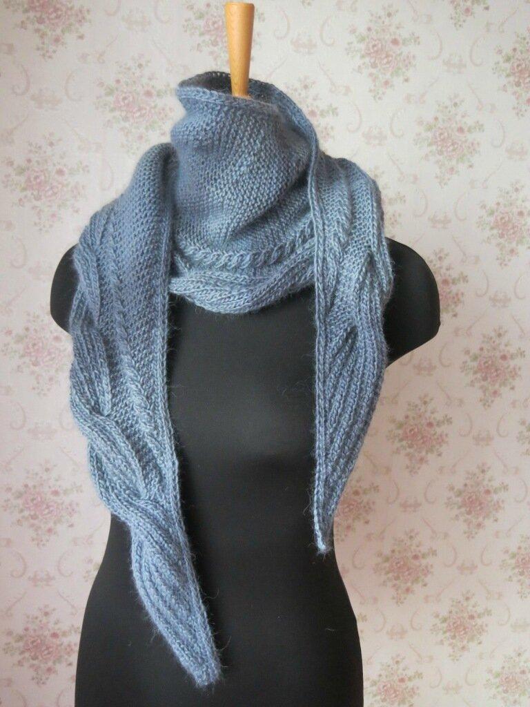 Вязание треугольного шарфа 23