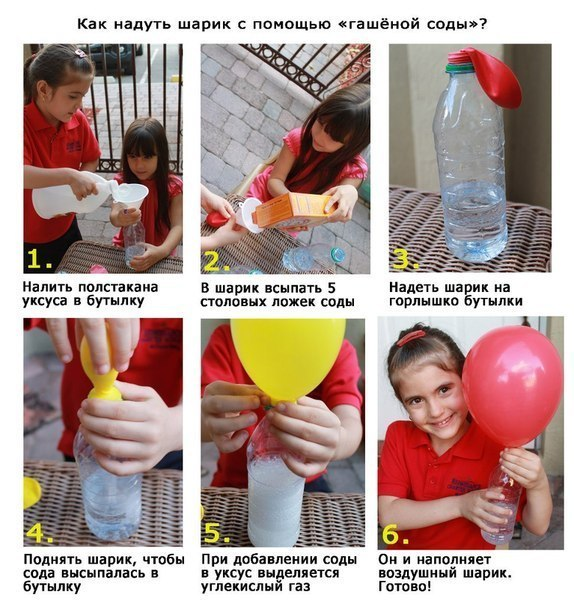 Как надуть шарик с помощью соды.