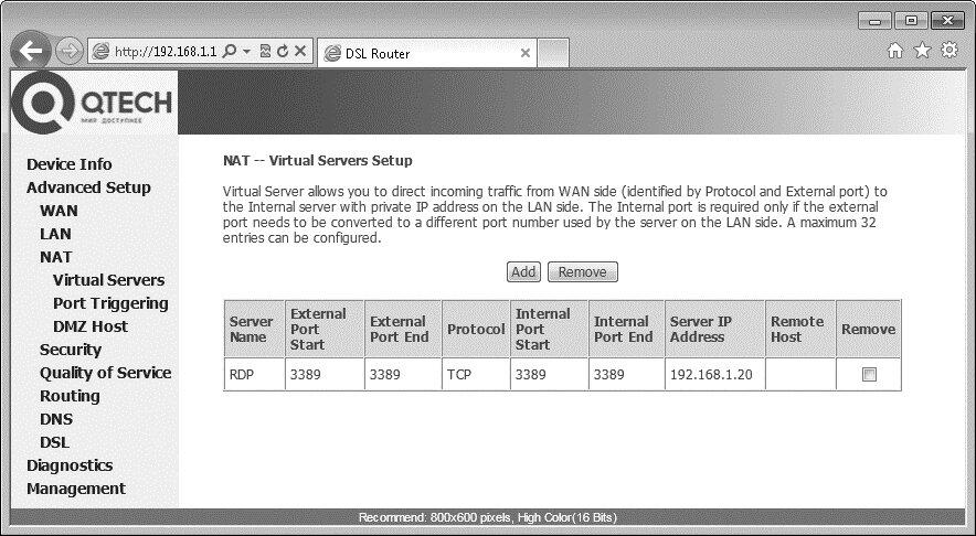 Рис. 9.7. Настройка виртуального сервера в модеме ADSL