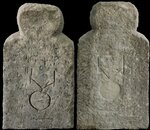 Антропоморфное изваяние с тамгообразными знаками (спереди и сзади). II-IIIвв. н.э.
