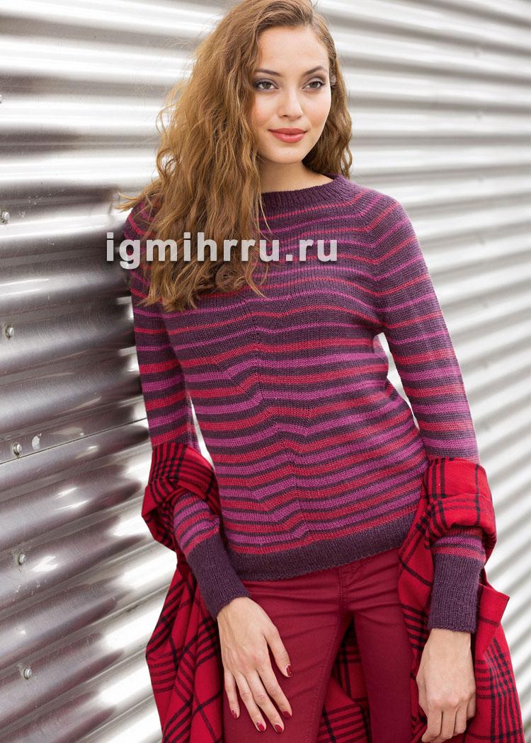 Пуловер в бордово-красных тонах, с полосками и рельефным мотивом. Вязание спицами