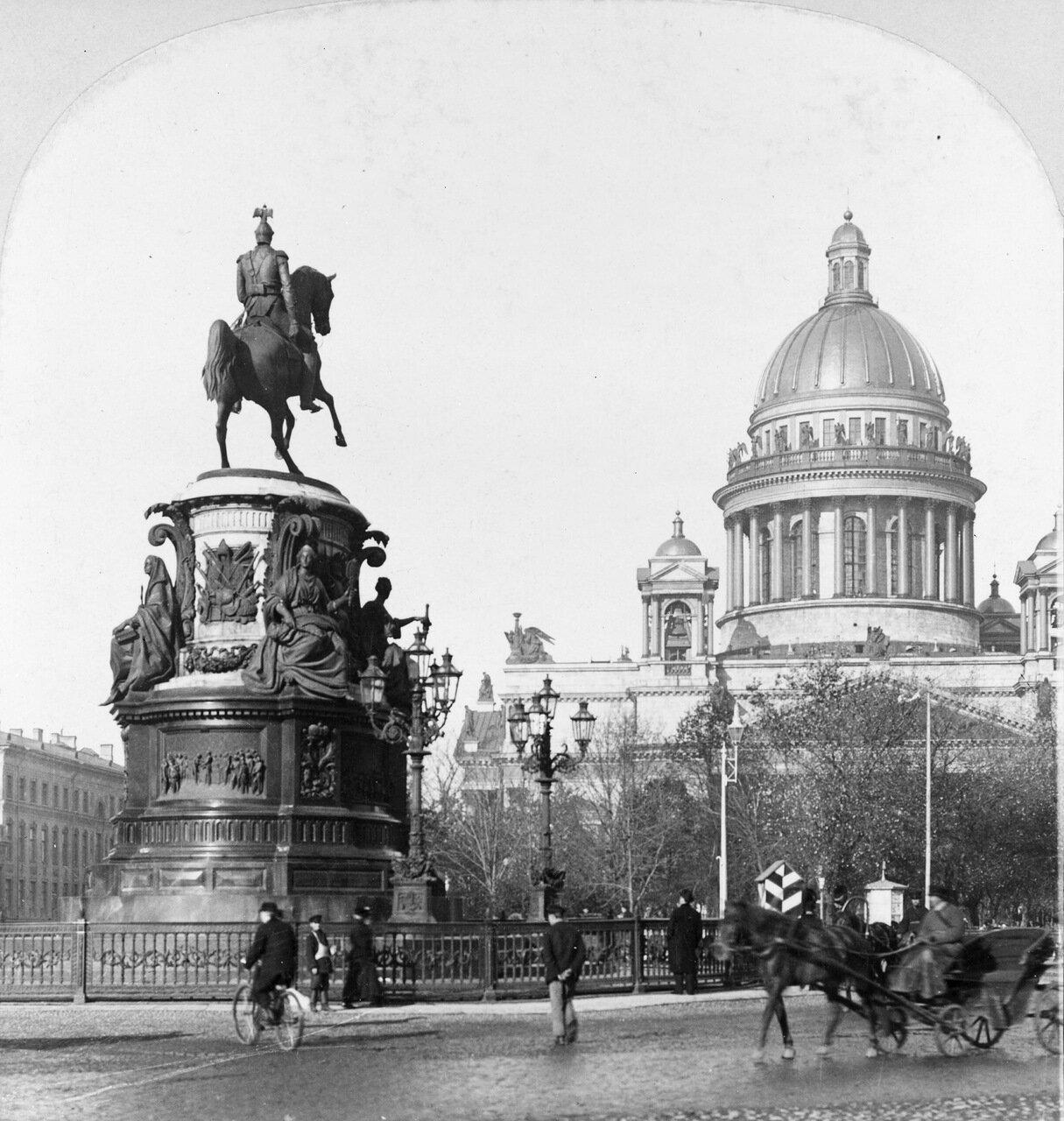 Памятник Николаю I и Исаакиевский собор. 1900