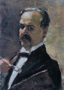 Автопортрет с кистью и палитрой 1910, Лессер Ури (1861-1931)