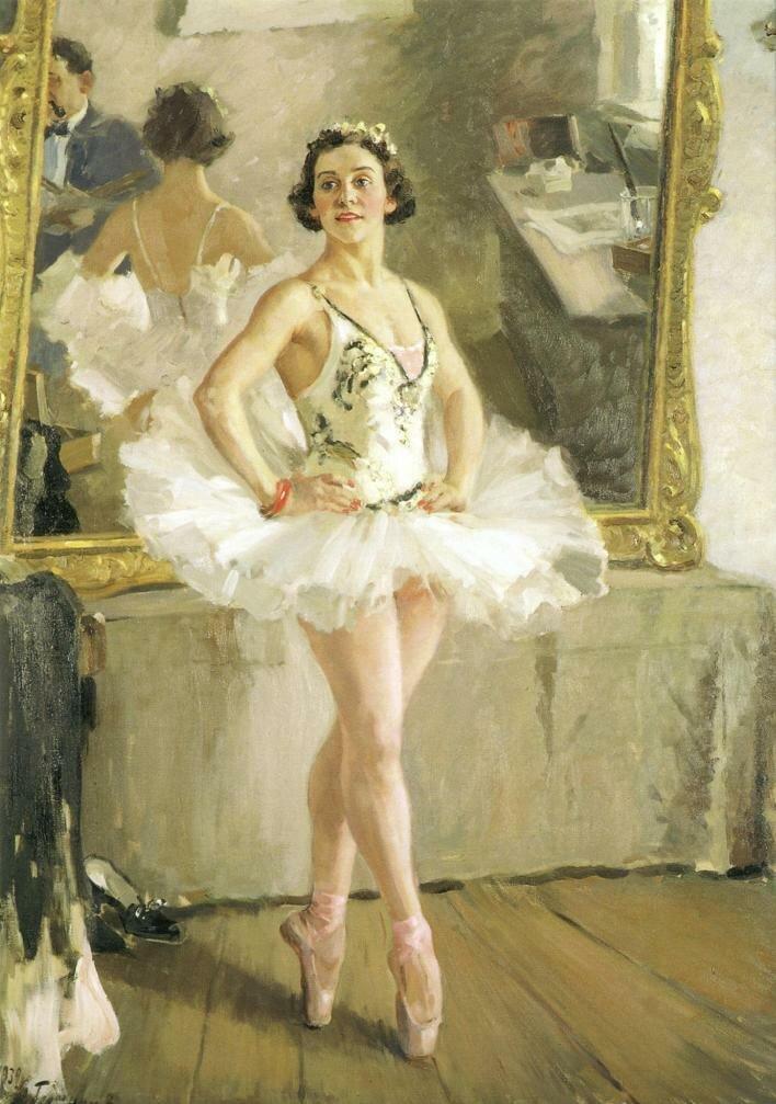 Худ. С.А.Герасимов. Портрет балерины О.В.Лепешинской, 1939 год