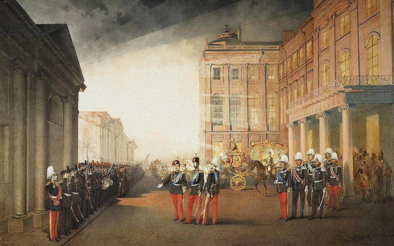Парад 12-го гренадерского Астраханского Е.И.В. наследника полка перед Аничковым дворцом 26 февраля 1870 года.