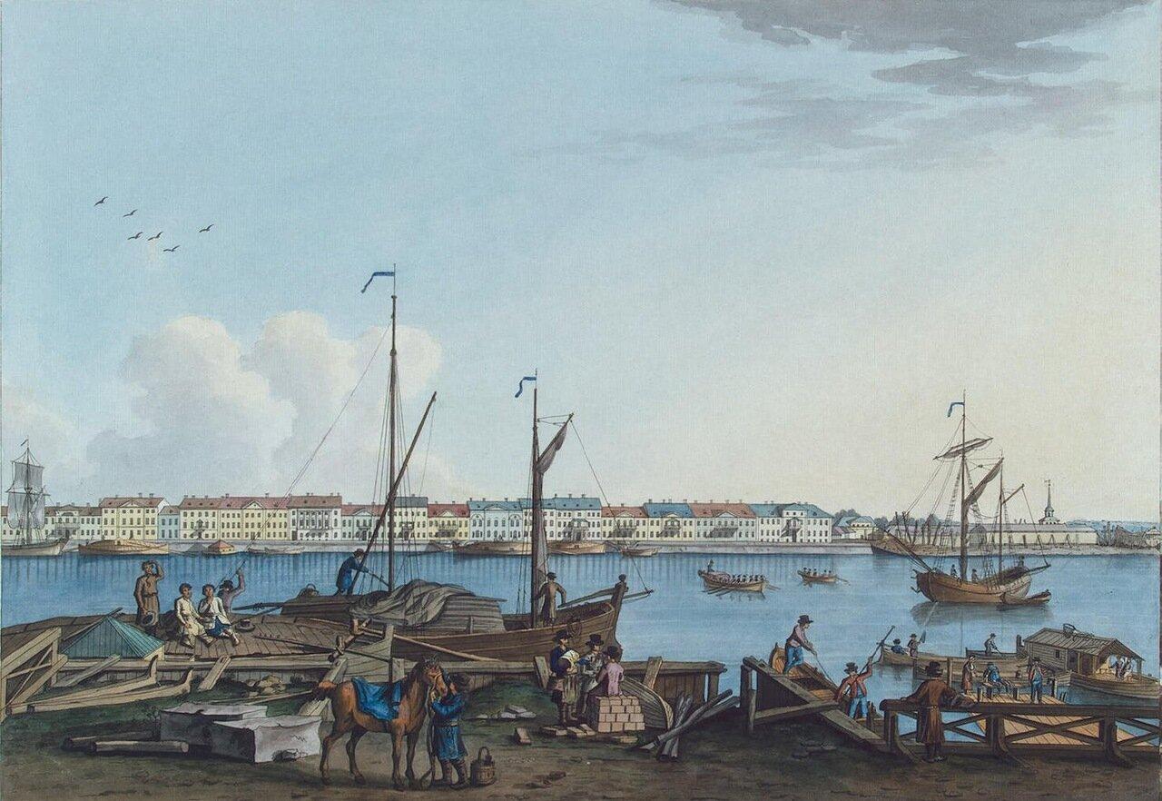 Вид Английской набережной и Галерного двора с Васильевского острова