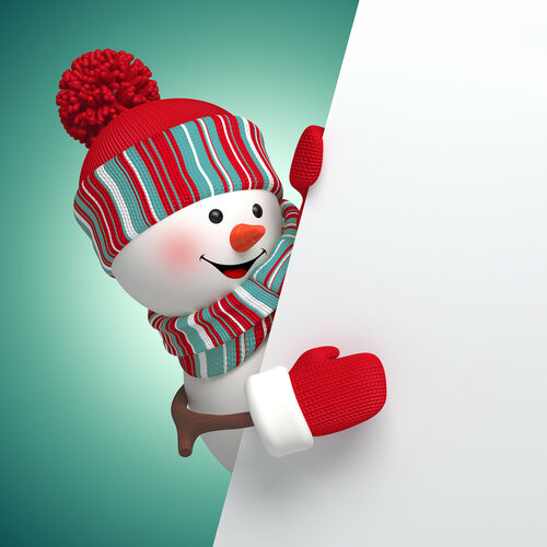 3d snowman, Christmas banner, New Year background