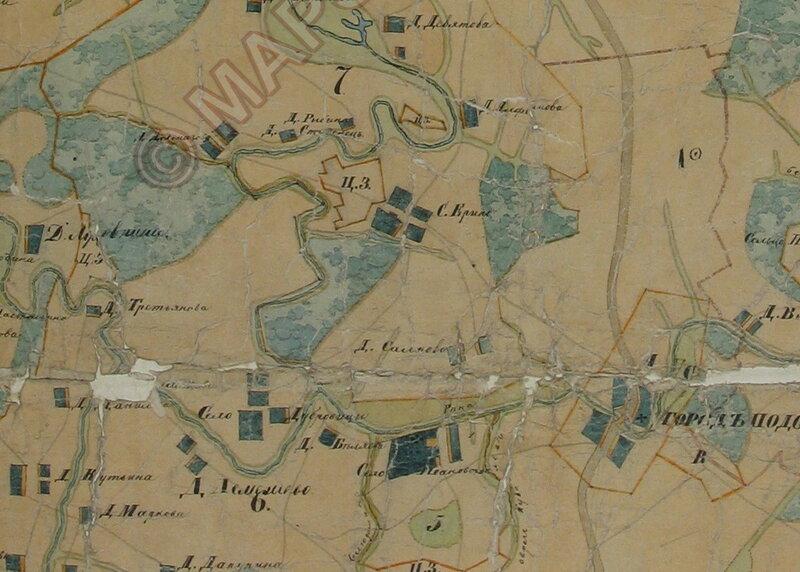 Село Дубровицы на карте межевания конца 18 века
