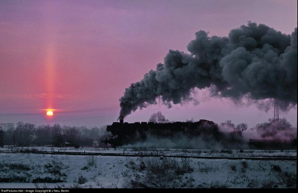 Deutsche Reichsbahn Locomotive #52 80, Steam 2-10-0, Near steel Works, Brandenburg, Germany, December 20, 1981.