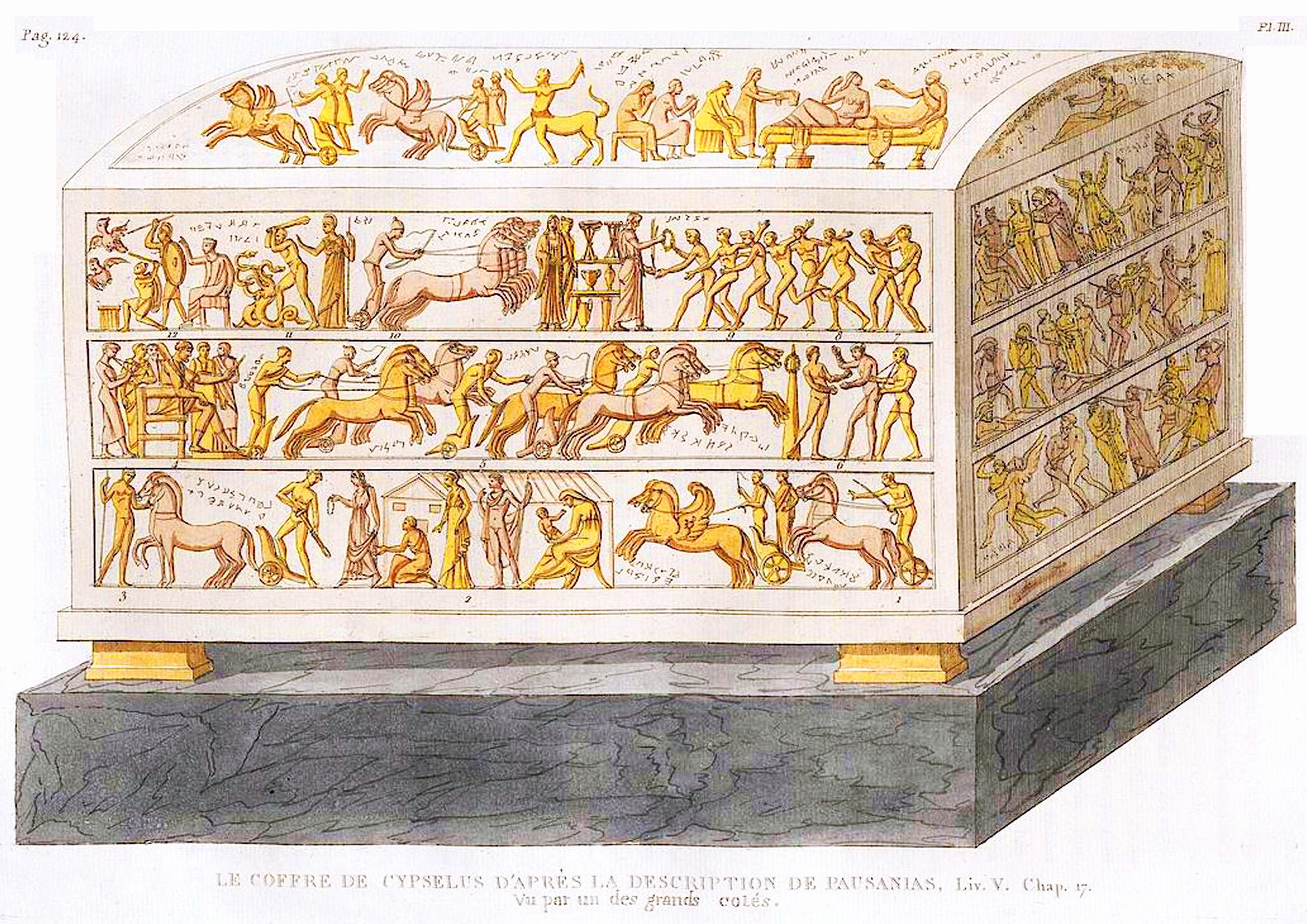 3. Сокровищница  Кипсела (сын Ээтиона) Le coffre de Cypsélus, vu par un des petits cotés
