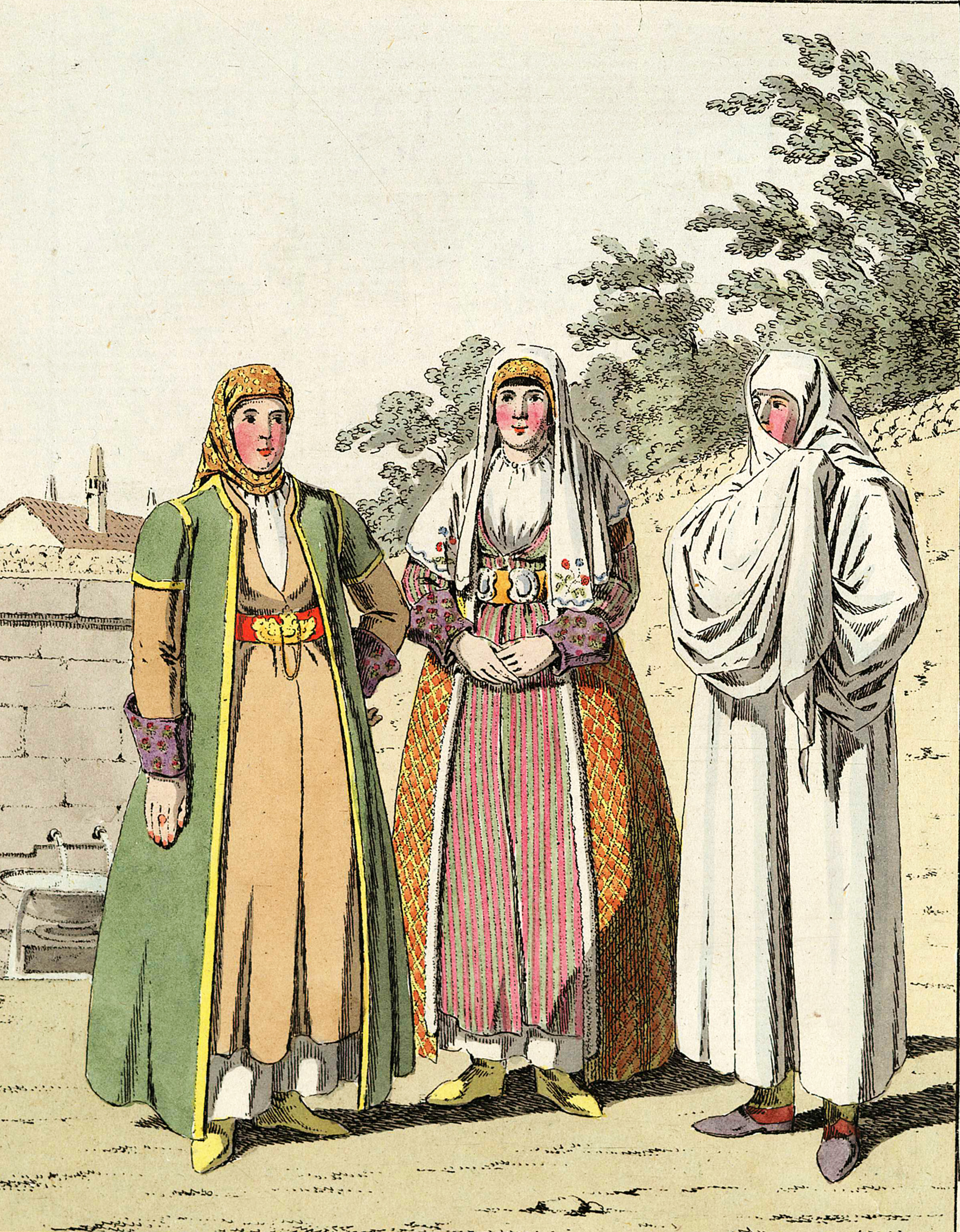 2-22. Обычная одежда татарских женщин в Крыму. Две женщины — в самых парадных нарядах, как они одеваются дома, без верхней накидки; третья — в верхней накидке с надетой вуалью.