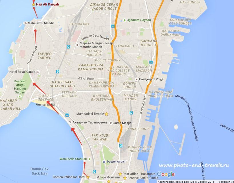 Карта со схемой, как добраться до мечети Хаджи Али в Мумбаи. Описание экскурсий. Поездка в Индию самостоятельно.