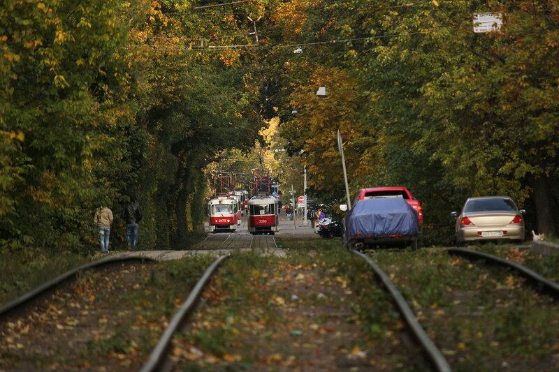 Вереница трамваев в районе Академика Курчатова