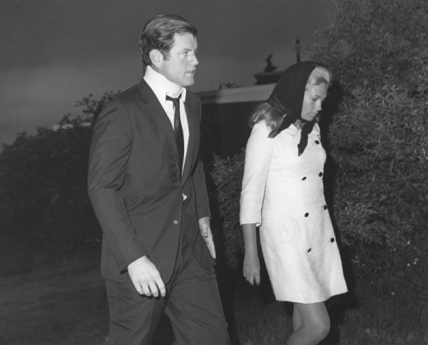 Ted Kennedy and his wife Joan attend the funeral of Mary Jo Kopechne. Plymouth, Pennsylvania. July 22, 1969