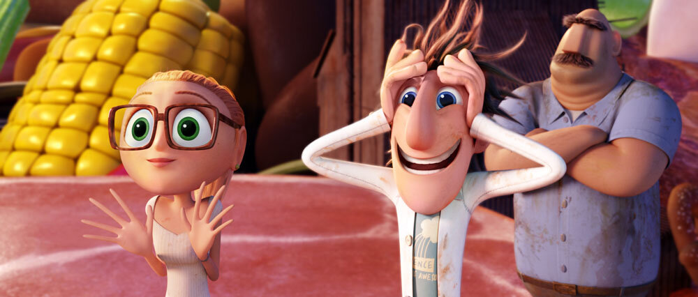 Sam (Anna Faris), Flint (Bill Hader) and Tim (James Caan) in Sony Pictures Animation's CLOUDY WITH A CHANCE OF MEATBALLS 2.