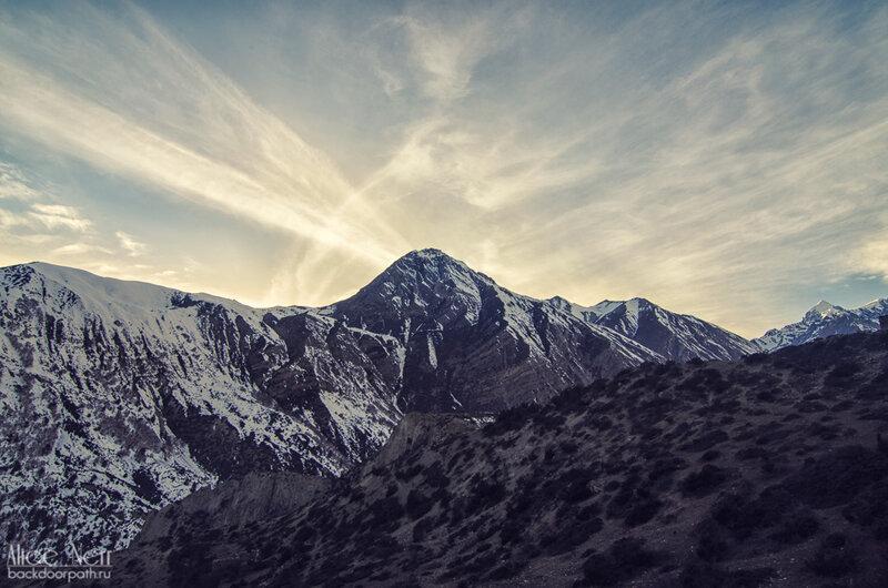 снежные пики, закат в горах, гималаи, непал