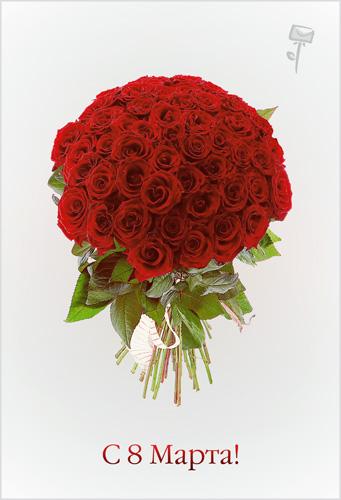 З 8 березня! Великий букет червоних троянд листівка фото привітання малюнок картинка
