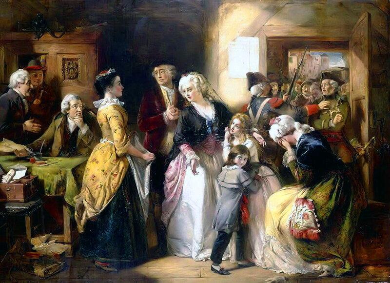逮捕路易十六和他的家人在Passpo注册处处长楼