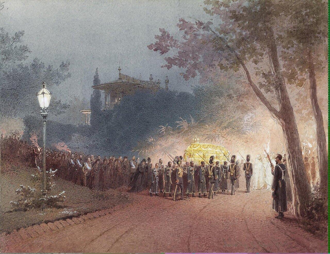 Вынос тела Александра III из Малого дворца в Ливадии.