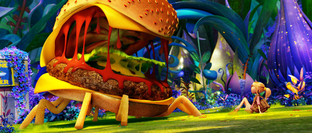 Sam (Anna Faris) gets a friendly welcome from a Cheespider in Sony Pictures Animation's CLOUDY WITH A CHANCE OF MEATBALLS 2.