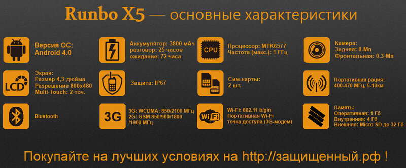 Технические характеристики мощного защищенного смартфона Runbo X5 с рацией и лазером