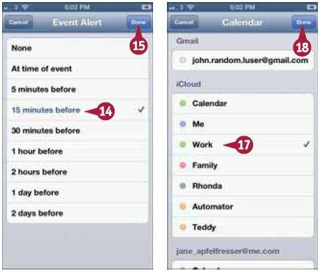 На экране «Напомнить» (Event Alert) выберите нужный вариант