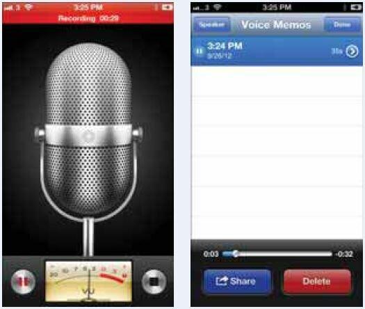 Использование приложения Voice Memos