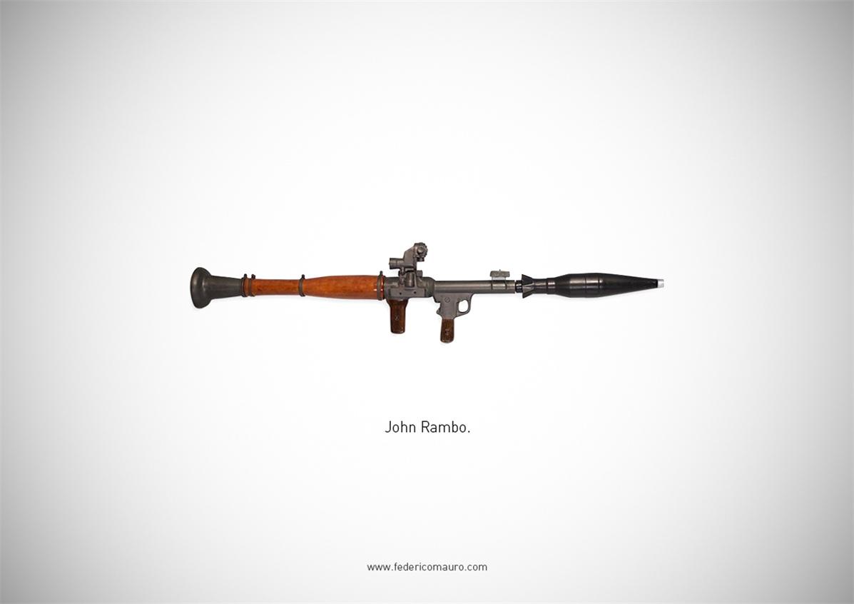 Знаменитые пушки - оружие культовых персонажей / Famous Guns by Federico Mauro - John Rambo