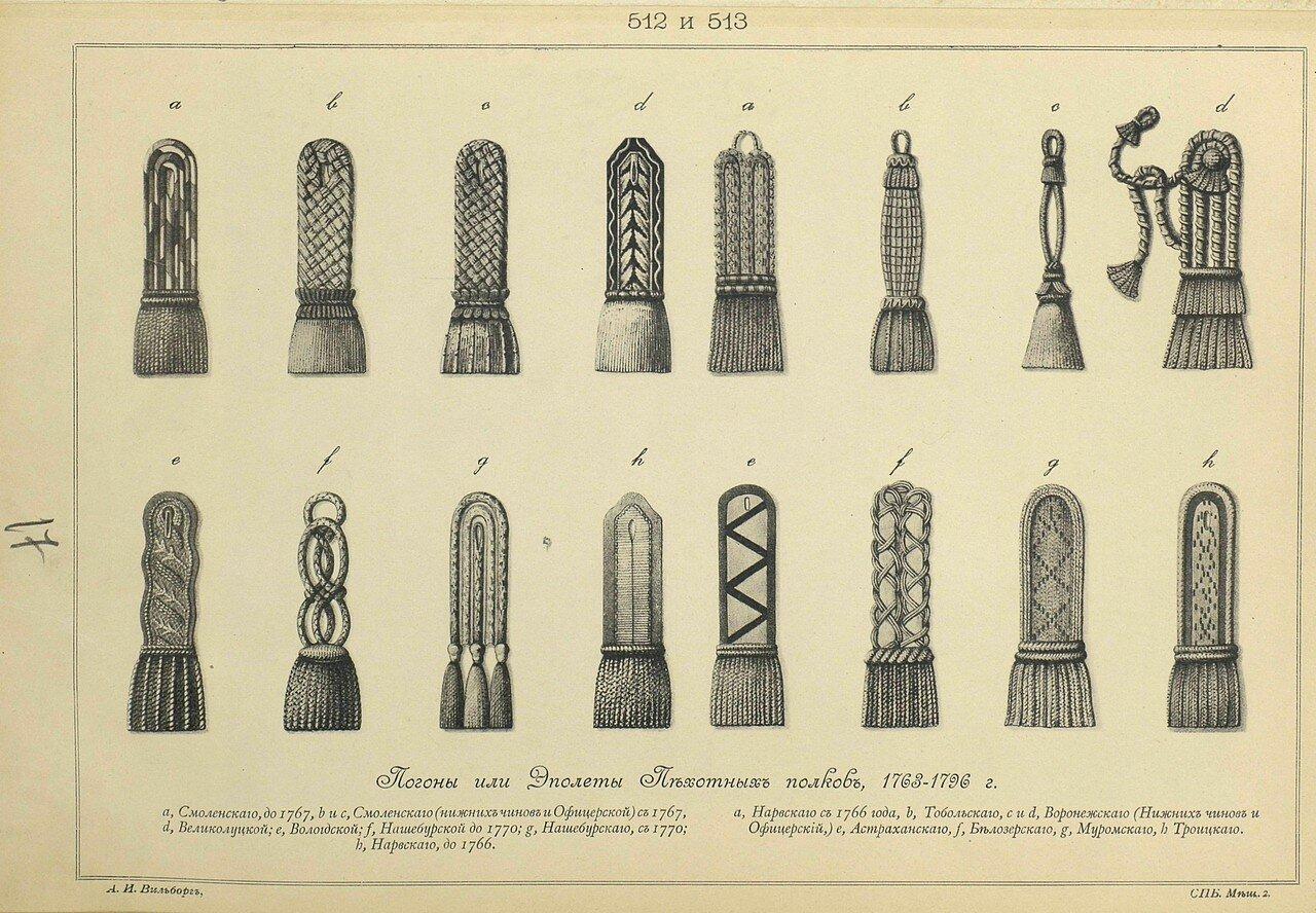 512 и 513. Погоны или Эполеты Пехотных полков, 1763-1796.