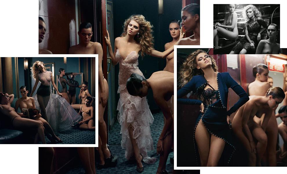 Модель Марина Линчук в окружении обнажённых красавиц