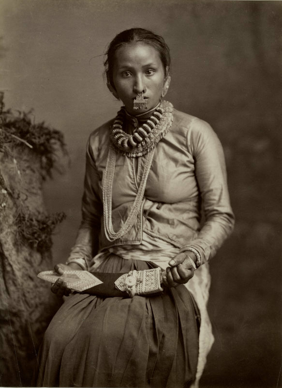 Woman with Nose Ring and Nepalese Kukri - 1880