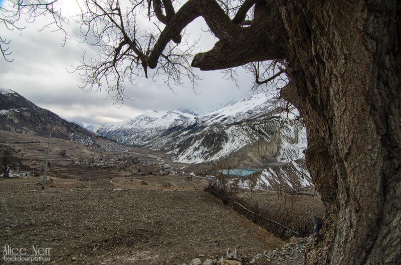Вид из Мананга на озеро Гангапурна и долину реки Марсъянди, гималаи, непал, горы, снежники, река