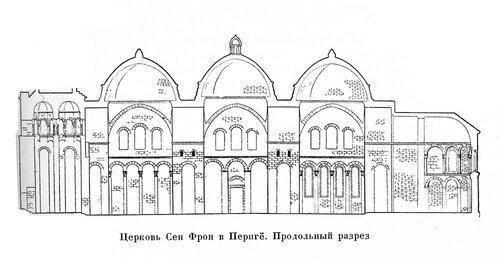 Церковь Сен-Фрон в Периге, продольный разрез