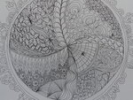 30-02 Урок 1, задание 1, рисование на бумаге zentangle в круге.
