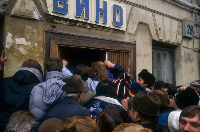 Muscovites Crowding Food Store During Shortage