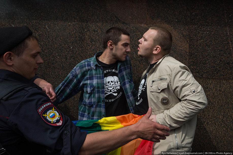 Не разрешенный гей-парад в Москве.