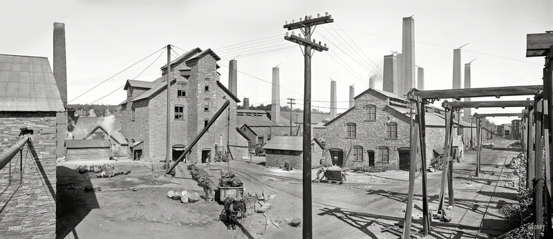 Circa 1905. 'Calumet and Hecla smelters, Lake Linden, Michigan.' Starting point for the web of copper telephone and streetcar wires seen in so many of the other Detroit Publishing images