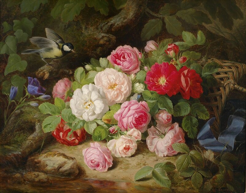Натюрморт с розами и синицей