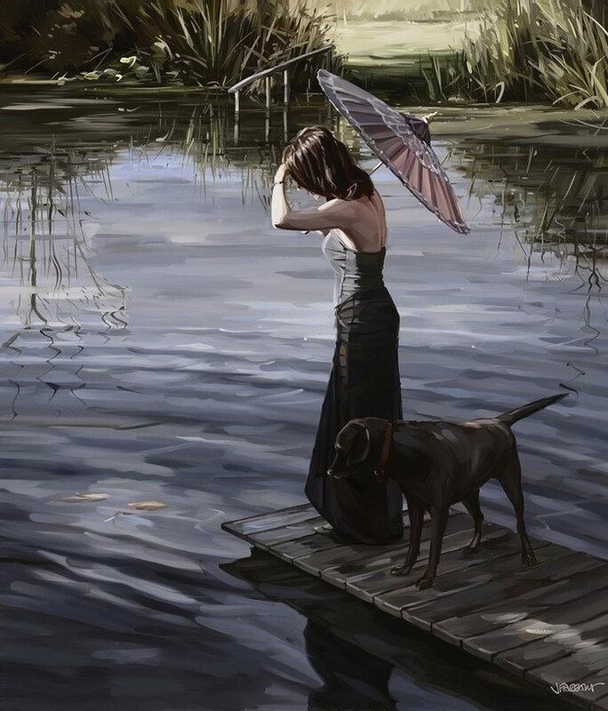 Художник Jim Farrant. Уехать навсегда и смело к тоненькой девушке и верно ждущей собаке