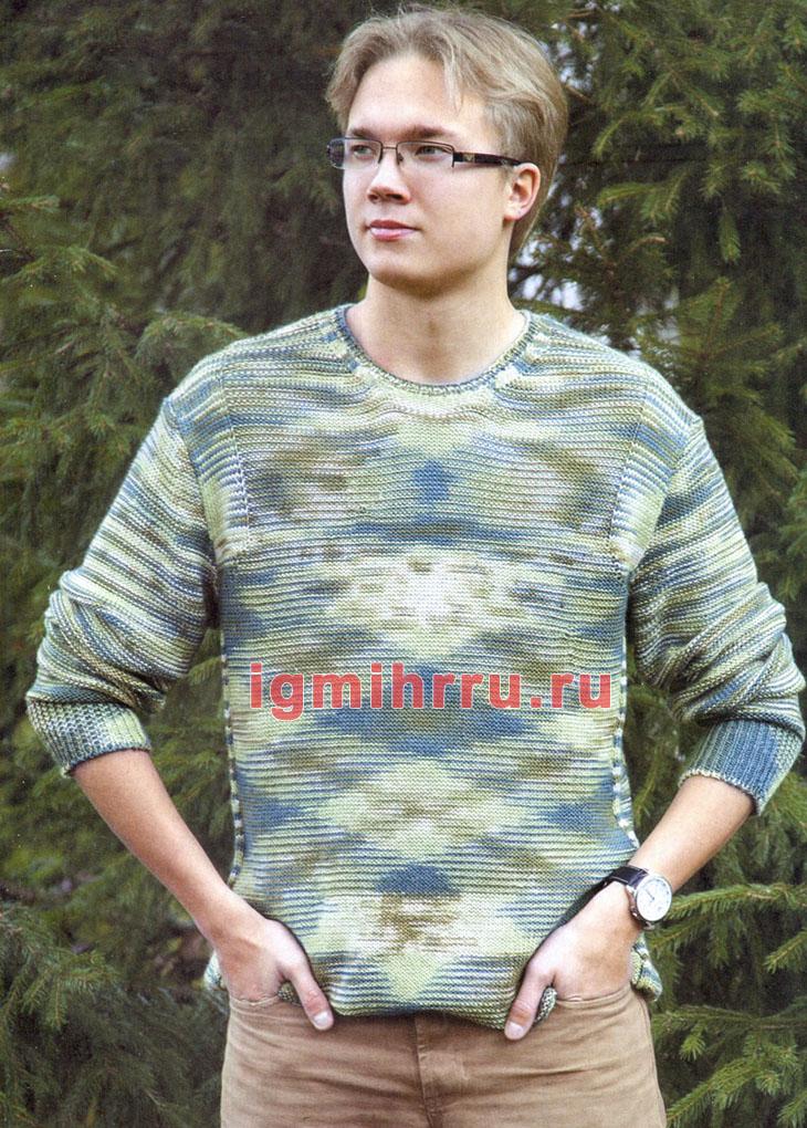 Меланжевый мужской пуловер с боковыми вставками. Вязание спицами