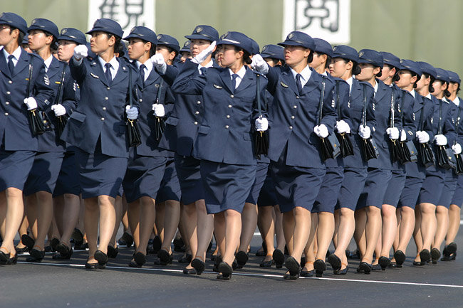Lady soldiers during annual review of the Japan Self-Defense Forces