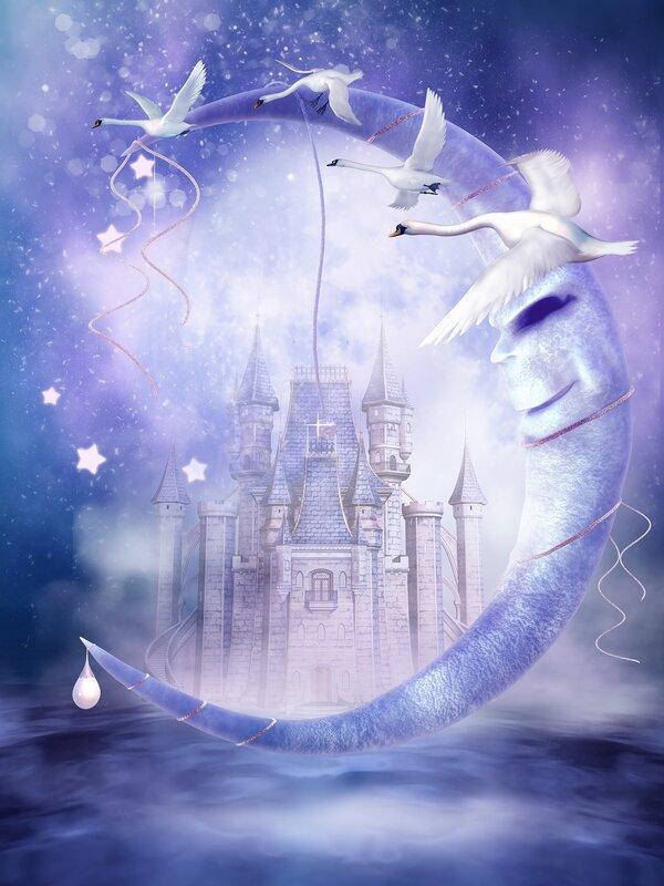 Księżyc z łabędziami na tle baśniowego zamku