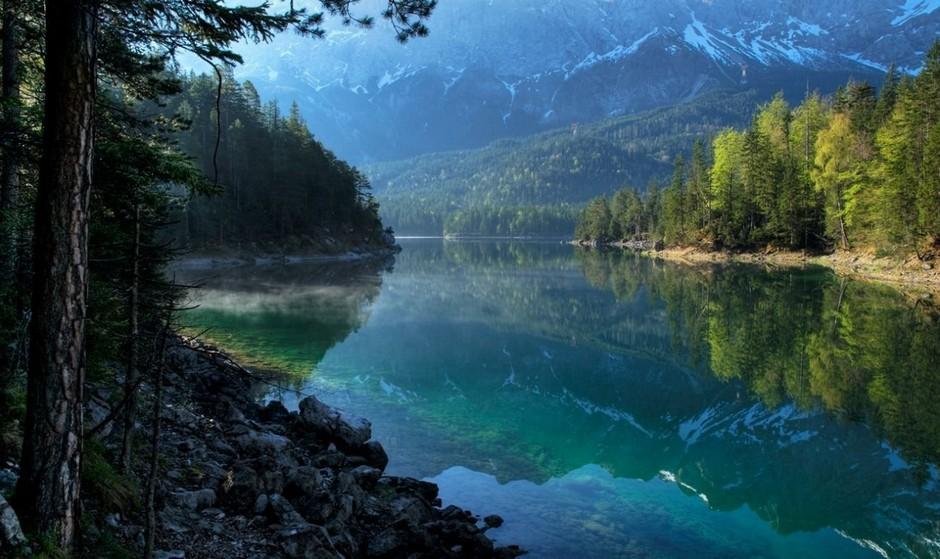 Озеро Айбзее (Eibsee Lake), Бавария, Германия