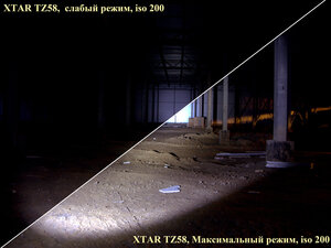 Тактический подствольный фонарь XTAR TZ58 U2.  Все режимы, iso 200